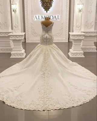 Luxury Weiße Hochzeitskleider Meerjungfrau Spitze Brautkleider Online_4