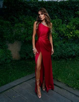 Rote Abendkleider Lang Günstig | Schlichtes Abiballkleid_3