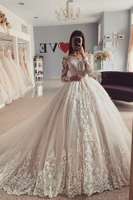 Elegant wedding dresses A line | Wedding dresses with lace sleeves_1