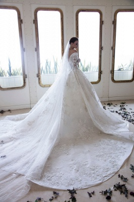 Luxury wedding dresses with sleeves | Lace wedding dresses A line_2