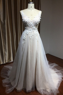 Simple wedding dress tulle | Wedding dresses A line lace_3