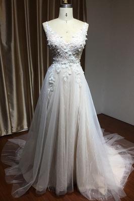 Schlichtes Brautkleid Tüll | Hochzeitskleider A Linie Spitze_3