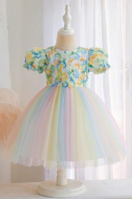 Schöne Blumenmädchenkleider Günstig | Tüll Kinder Hochzeitskleider_3