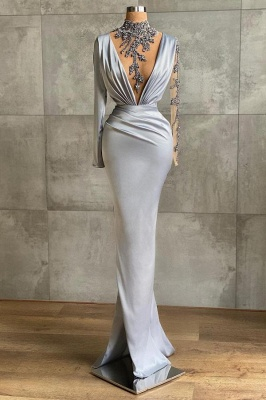 Silver Prom Dresses Long Cheap | Evening dresses with sleeves_1