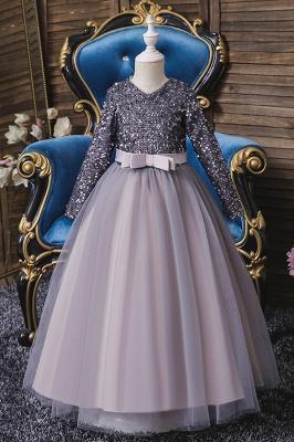 Weinrot Blumenmädchenkleider mit Ärmel | Kleider für Blumenmädchen_3