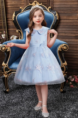 Blue flower girl dresses short | Dresses for flower children_5