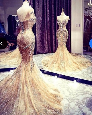 Extravagant evening dresses gold | Long glitter prom dresses_6