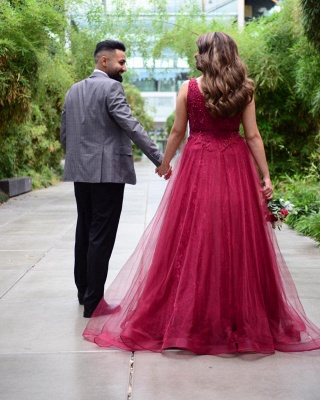 Wine red evening dresses with lace | Prom dresses long cheap_2