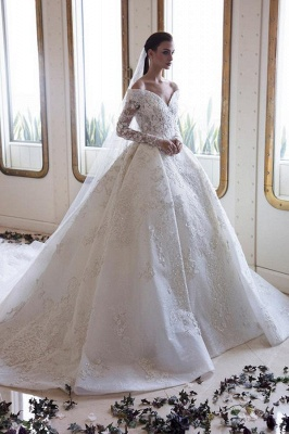 Luxury wedding dresses with sleeves | Lace wedding dresses A line_1