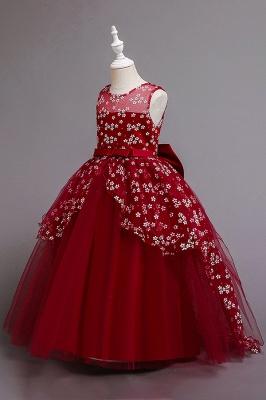 Weinrot Blumenmädchenkleider Günstig | Kinder Hochzeitskleider_8