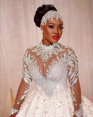 Elegante Brautkleider Prinzessin   Hochzeitskleider mit Spitzeärmel_2