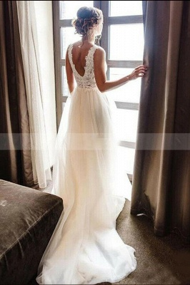 Simple wedding dress A line with lace | Wedding dresses tulle_2