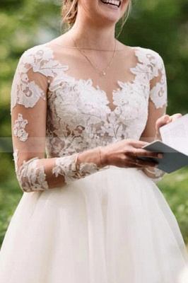 Gorgeous wedding dresses with sleeves | Wedding dresses A line lace_3