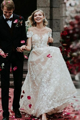 Schlichtes Hochzeitskleid Spitze | Brautkleider mit Ärmel_1