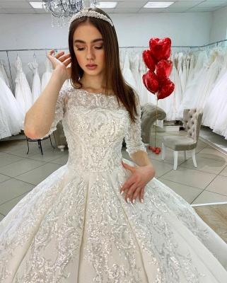Prinzessin Hochzeitskleider mit Ärmel | Satin Brautkleider Glitzer_4