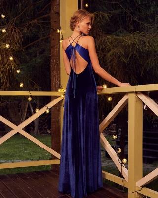 Velvet Evening Dresses Long Cheap | Prom dresses king blue_2