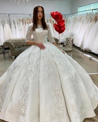 Prinzessin Hochzeitskleider mit Ärmel | Satin Brautkleider Glitzer_2