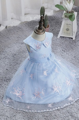 Blue flower girl dresses short | Dresses for flower children_8