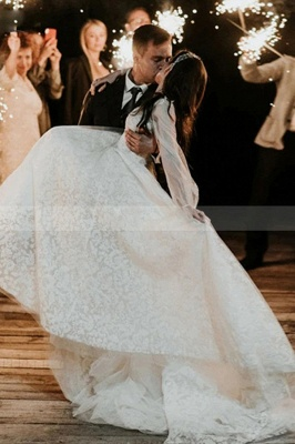 Designer Wedding Dresses A Line Lace | Wedding dresses with sleeves_5