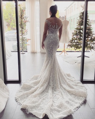 Beautiful wedding dresses mermaid lace | Cream wedding dress_3