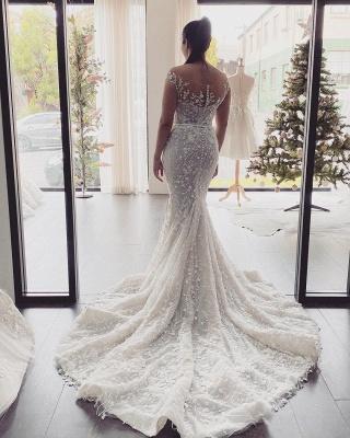 Schöne Hochzeitskleider Meerjungfrau Spitze | Brautkleid Cream_3