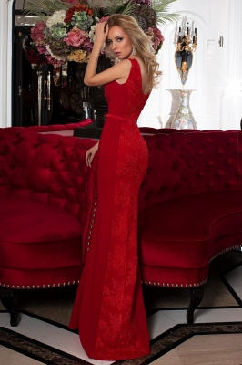 Designer Evening Dresses Long Red | Prom dresses with lace_2