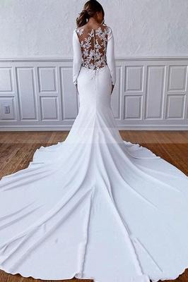 Schlichtes Hochzeitskleid Satin | Brautkleider mit Ärmel_2