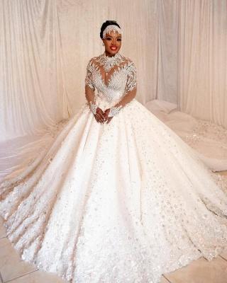 Elegante Brautkleider Prinzessin   Hochzeitskleider mit Spitzeärmel_3