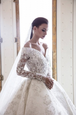 Luxury wedding dresses with sleeves | Lace wedding dresses A line_3