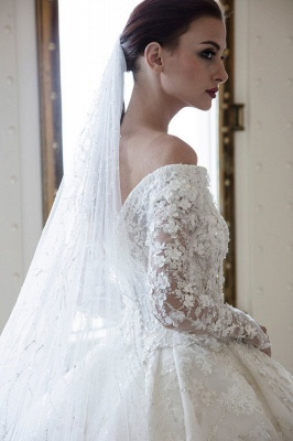 Luxury wedding dresses with sleeves | Lace wedding dresses A line_4