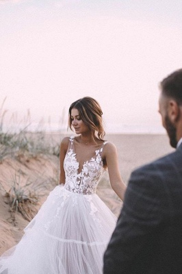 Simple wedding dress A line | Wedding dresses with lace_2