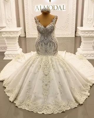Luxury Weiße Hochzeitskleider Meerjungfrau Spitze Brautkleider Online_3