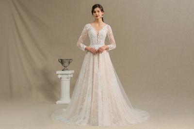 Designer Brautkleid A Linie Spitze | Hochzeitskleider mit Ärmel_4