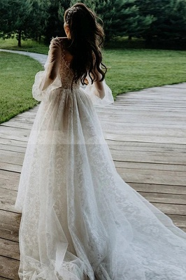 Designer Wedding Dresses A Line Lace | Wedding dresses with sleeves_4