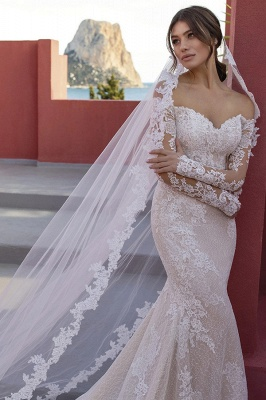 Designer wedding dresses lace | Wedding dresses mermaid with sleeves_3