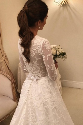 Gorgeous Wedding Dresses A Line | Lace wedding dresses with sleeves_3