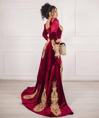 Weinrot Abendkleider Velvet | Abendkleid Lang Günstig Online_4
