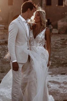Schlichtes Hochzeitskleid mit Spitze | Brautkleid A Linie_3