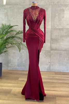 Luxury Evening Dresses Long Wine Red | Prom dresses with sleeves_1