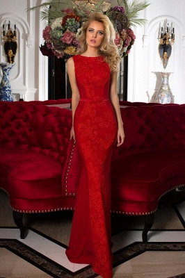 Designer Evening Dresses Long Red | Prom dresses with lace_1