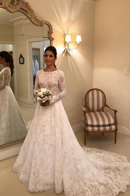 Gorgeous Wedding Dresses A Line | Lace wedding dresses with sleeves_1