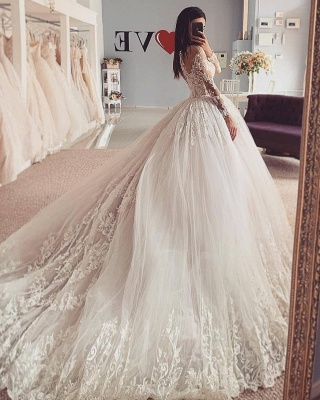 Elegant wedding dresses A line | Wedding dresses with lace sleeves_2