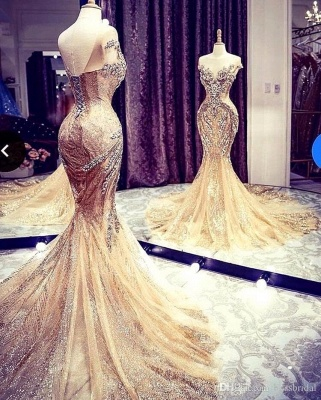 Extravagant evening dresses gold | Long glitter prom dresses_2