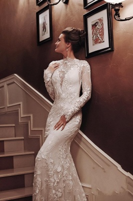 Wedding dresses mermaid lace | Wedding dresses with sleeves_2
