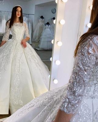 Prinzessin Hochzeitskleider mit Ärmel | Satin Brautkleider Glitzer_3