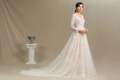 Designer wedding dress A line lace | Wedding dresses with sleeves_10