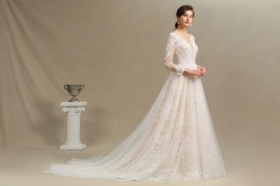 Designer Brautkleid A Linie Spitze | Hochzeitskleider mit Ärmel_10
