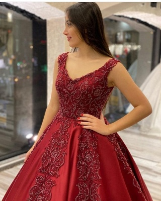Wedding dresses A line burgundy | Wedding dresses with lace_3