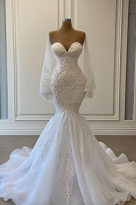 Beautiful mermaid wedding dresses | Lace wedding dresses with sleeves