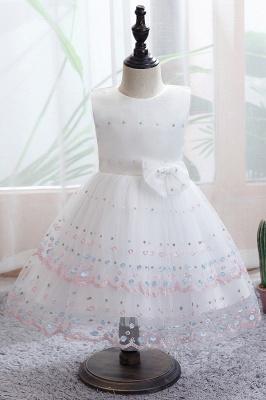 Weiße Blumenmädchenkleider Günstig | Tüll Kinder Hochzeitskleider_1